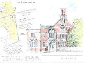 Colin Bays drawing of the library