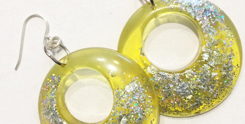 60's style hoops - Lemon & Silver