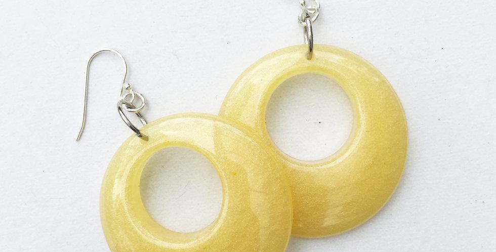 60's style hoops - Mellow Yellow Metallic