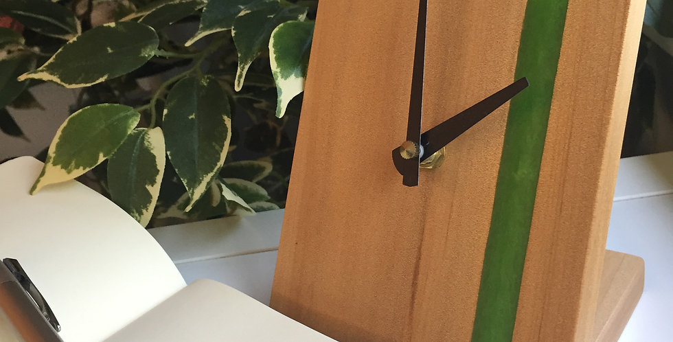 Handmade Desk Clock - Natural with Lime Green Eco Resin