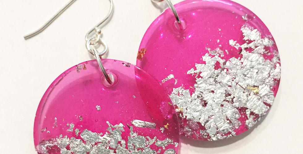 Large Circles - Bright Pink & Silver