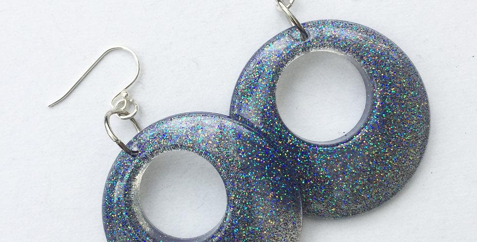 60's style hoops - Black & Glitter