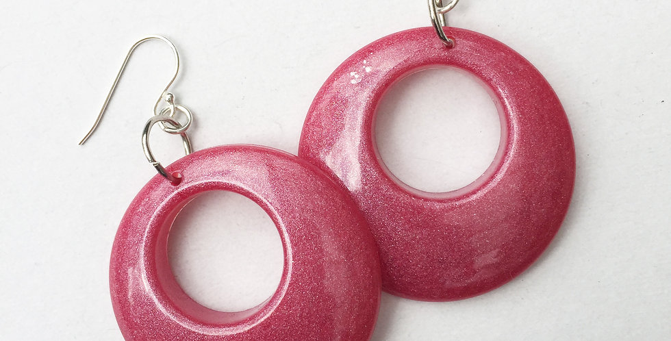 60's style hoops - Deep Rose Metallic