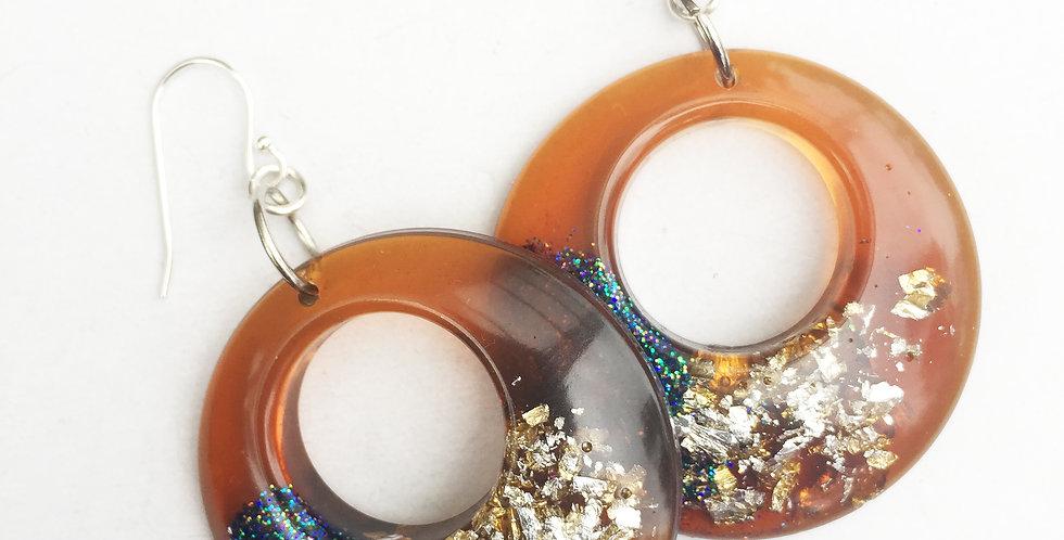 60's style hoops - Chestnut, Gold & Glitter