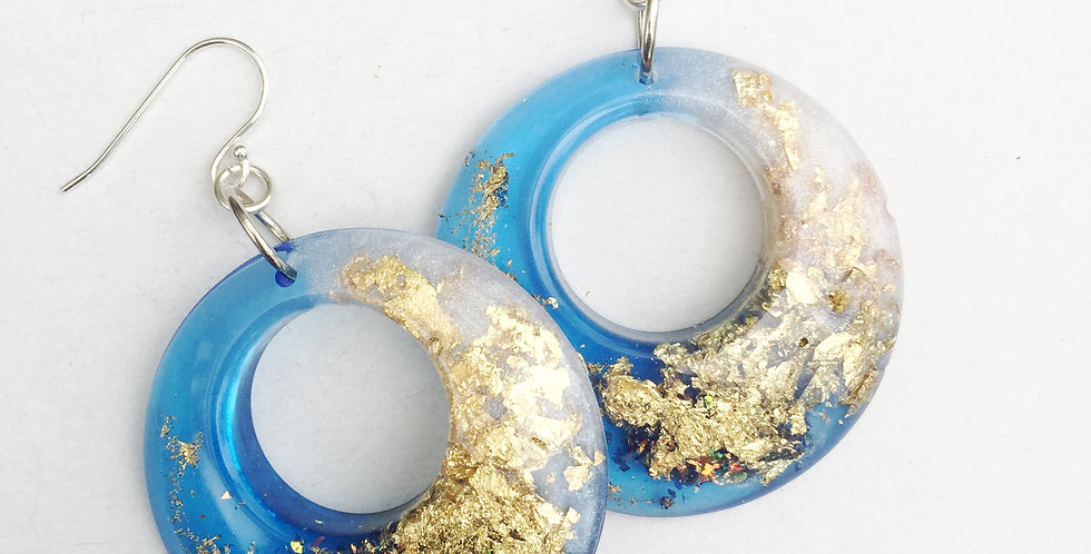 60's style hoops - Blue, White & Gold