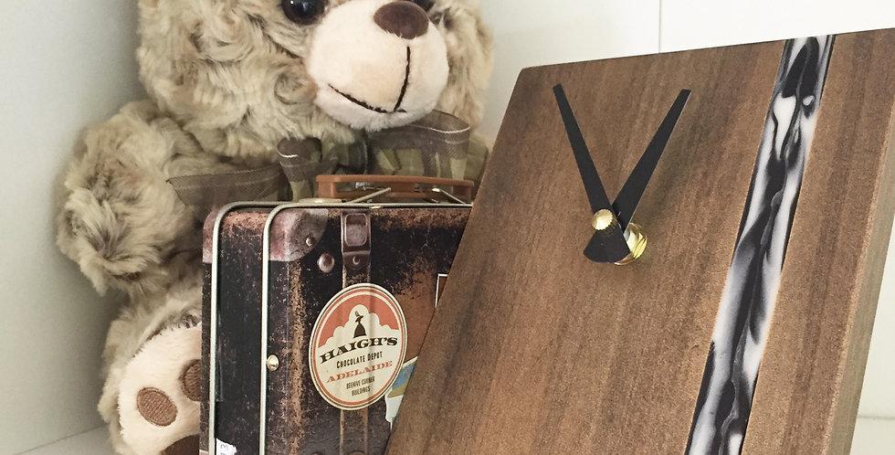 Handmade Desk Clock - Ebony with Black & White Eco Resin