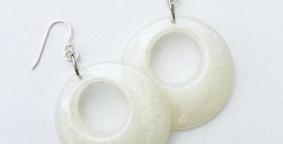 60's style hoops - Ivory Pearl Metallic