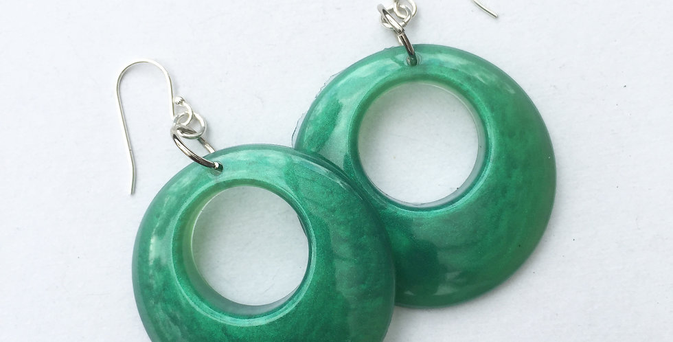 60's style hoops - Emerald Green Metallic