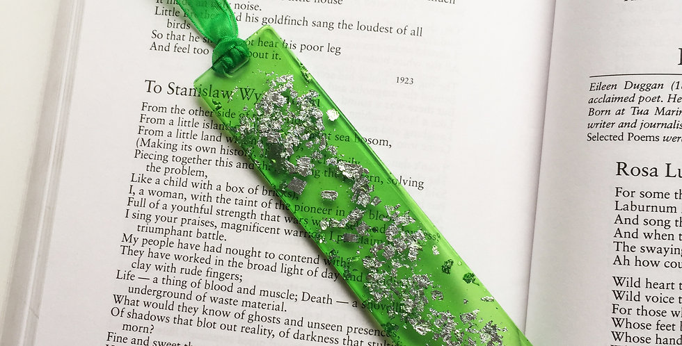 Handmade Eco Resin Bookmark - Lime translucent with silver flakes