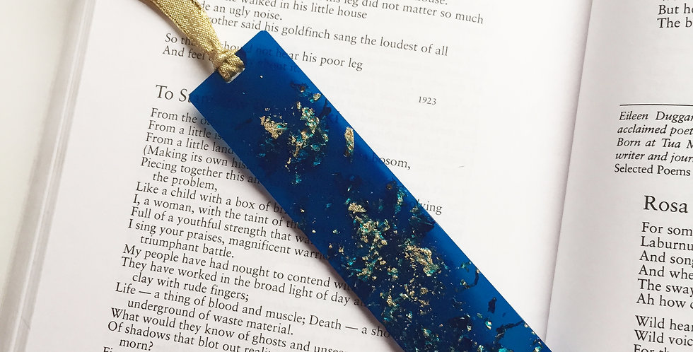 Handmade Eco Resin Bookmark - Deep blue with gold metal flakes