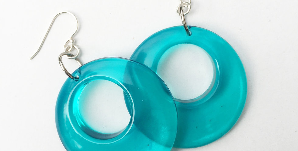60's style hoops - Turquoise Translucent