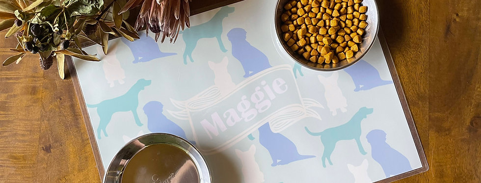 Dog - Personalised Pet Placemat (blue-green)