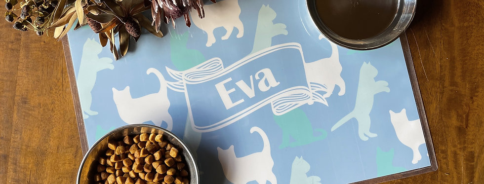 Cat - Personalised Pet Placemat (blue-green)