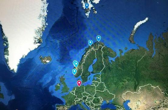 ノルウェー湾岸やホニングスヴォーグなどフィヨルド・北極圏クルーズ旅行の出着港や寄港地をグーグルマップで確認できます。