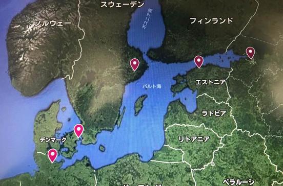 ストックホルム、タリン、キール、ヘルシンキ、サンクトぺテルブルクなどバルト海5ケ国クルーズ旅行の出着港や寄港地をグーグルマップで確認できます。