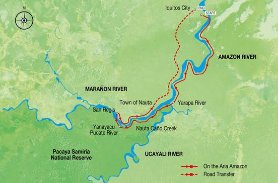アマゾン川クルーズ旅行の出着港や寄港地をグーグルマップで確認できます。