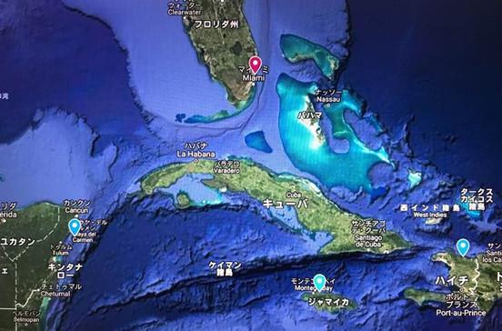 ハイチやジャマイカ、メキシコなど西カリブ海クルーズ旅行の出着港や寄港地をグーグルマップで確認できます。
