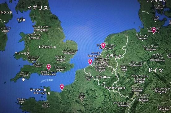 フランス、オランダ、ベルギー、ドイツの4ケ国を巡る北欧クルーズ旅行の出着港や寄港地をグーグルマップで確認できます。