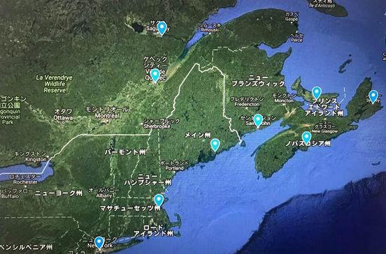 アメリカやカナダの美しい紅葉を観賞しながら巡るカナダ・ニューイングランドクルーズ旅行の出着港や寄港地をグーグルマップで確認できます。