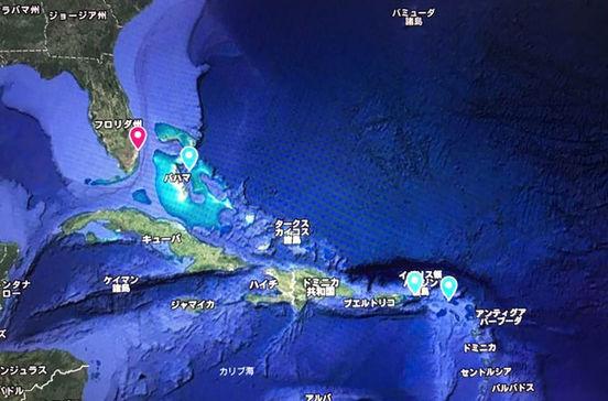 バハマやセントトーマス島、セントマーチンなど東カリブ海クルーズ旅行の出着港や寄港地をグーグルマップで確認できます。