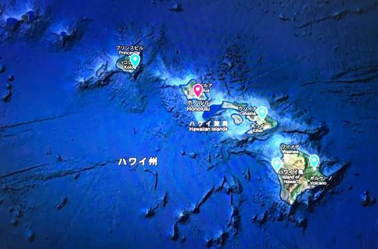 オアフ島、マウイ島、ハワイ島、カウアイ島を巡るハワイ4島クルーズ旅行の出着港や寄港地をグーグルマップで確認できます。