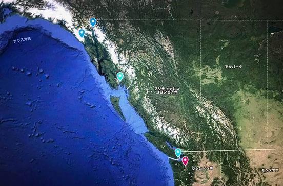 世界遺産グレーシャーベイなどアラスカクルーズ旅行の出着港や寄港地をグーグルマップで確認できます。
