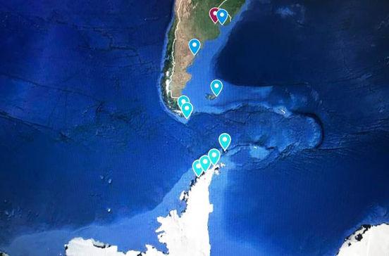 南米大陸の最南端ケープホーンを超えて南極大陸の氷の世界を巡る南米・南極クルーズ旅行の出着港や寄港地をグーグルマップで確認できます。