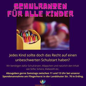 Wir versorgen Kinder mit Schulränzen, Stiften und Mäppchen!