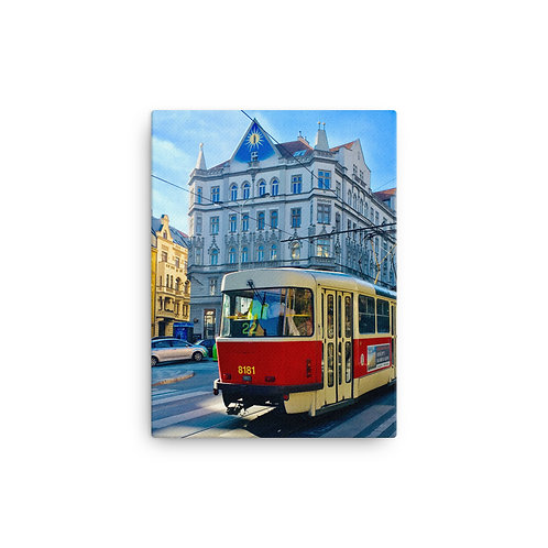 This Hostel, That Tram at Krymska, Prague on Canvas by Being Out Of Office