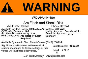 Arc Flash Label D.P. Lund Company