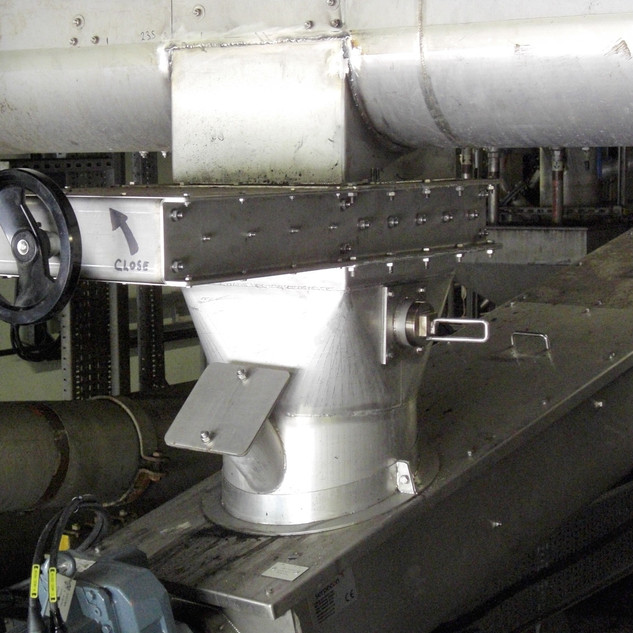 Slide Valve fitted to Screw Conveyor