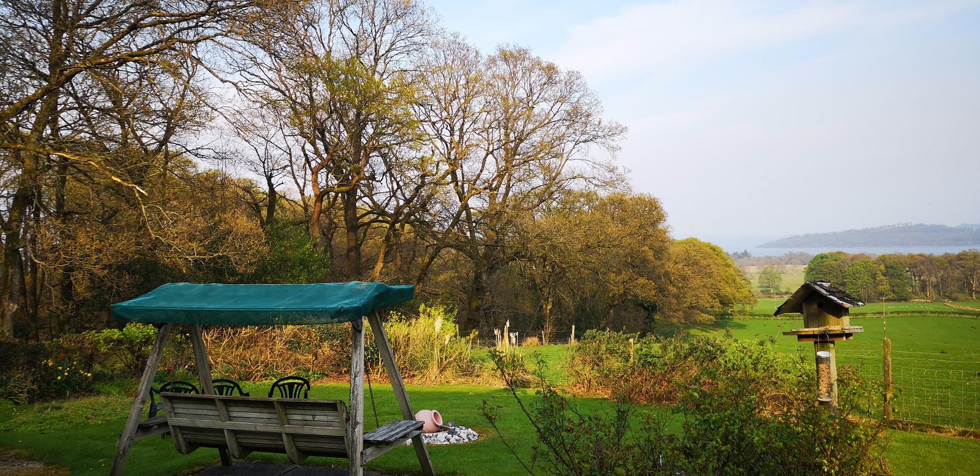 Garden swing seat looking towards loch lomond