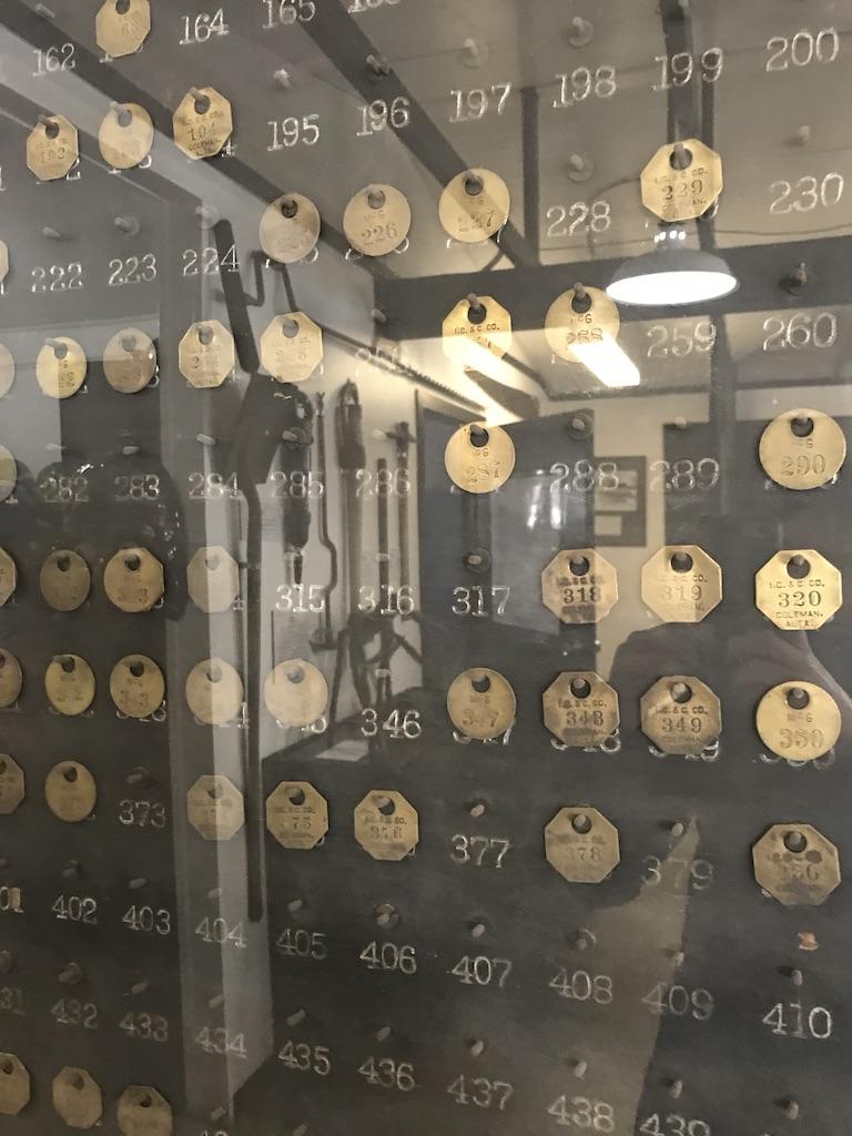 Miner's Checks at Bellevue Underground Mine Museum
