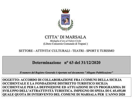 Marsala impegna €65.455 per la Fondazione Distretto Turistico Sicilia Occidentale di Trapani