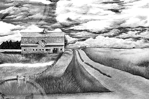 Limited Run of 50: Old Barn - Pencil Drawing Print