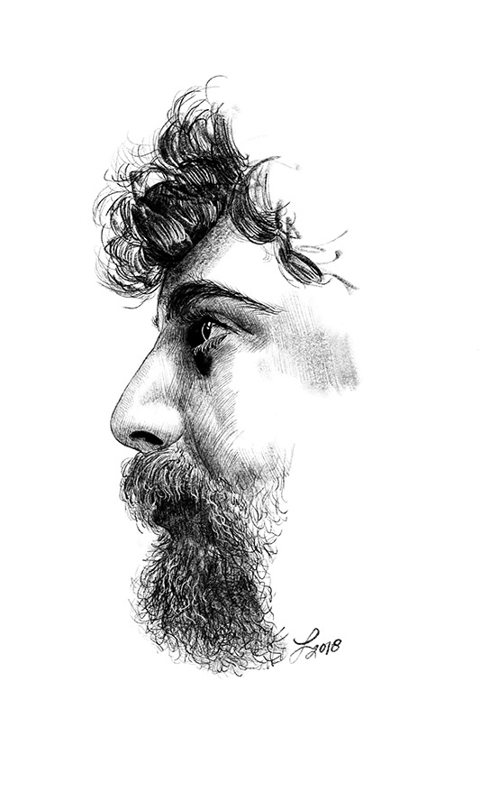 Bearded Man Pencil Study