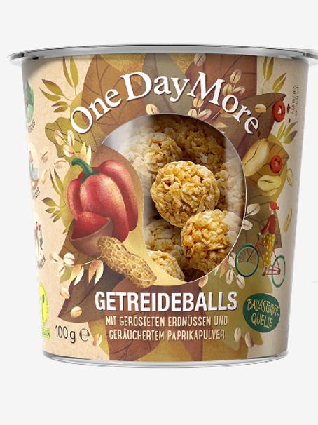 Getreideballs Erdnüssen und Paprika