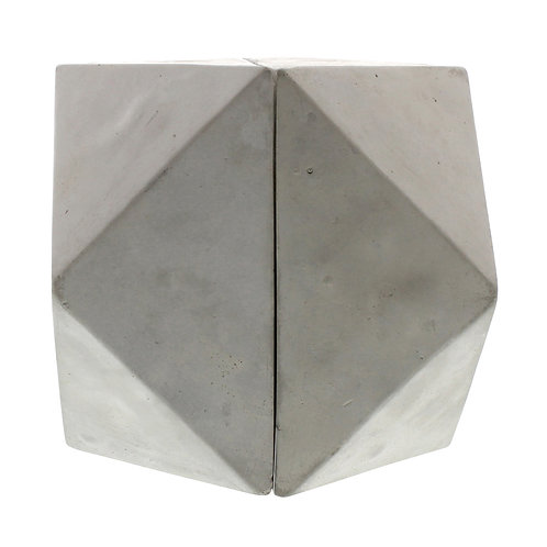 GEOMETRIC CEMENT BOOKENDS - CUBEOCTAHEDRON