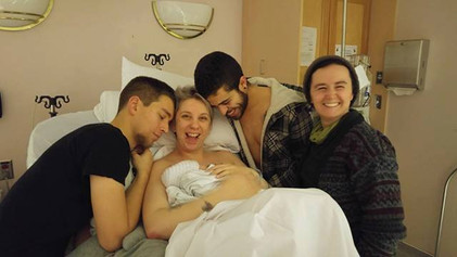 happy family 20 minutes after giving birth