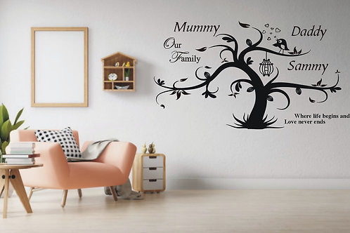 Personalised Family Wall Tree Graphic