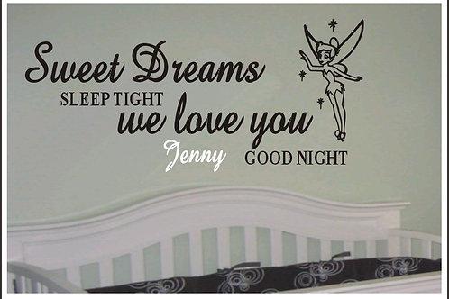 Fairy Sweet Dreams Sleep Tight Personalised Wall Sticker
