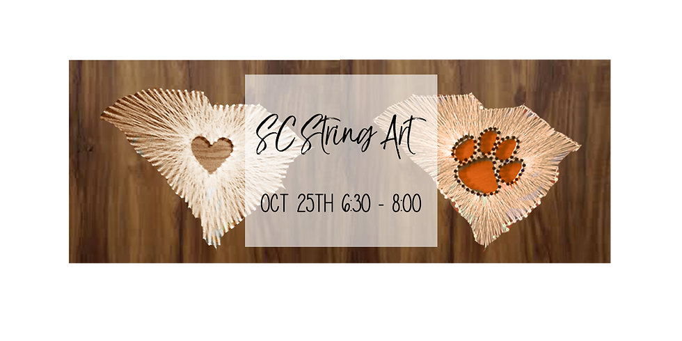 SC String Art with Heart or Clemson Tiger Paw $35