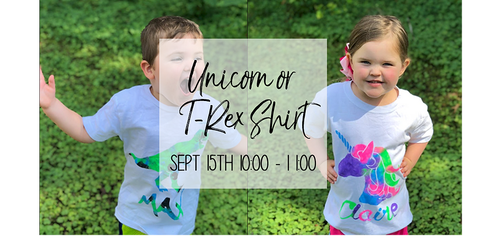 Kid's Personalized Unicorn or T-Rex Shirt $20