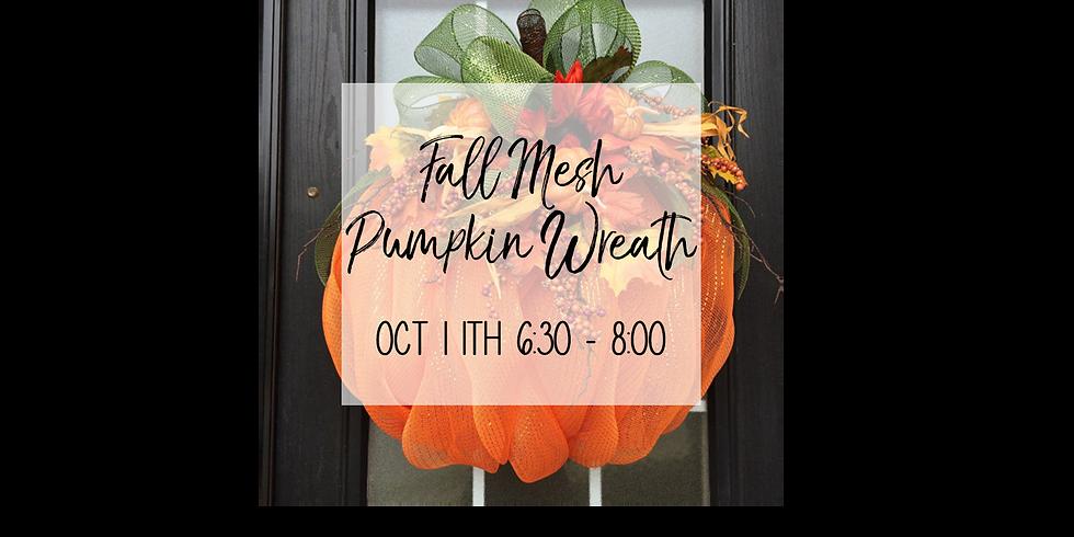 Fall Pumpkin Mesh Wreath DIY $35