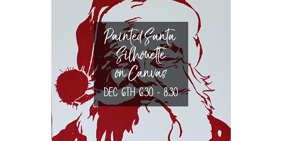 Painted Santa Silhouette on Canvas $35
