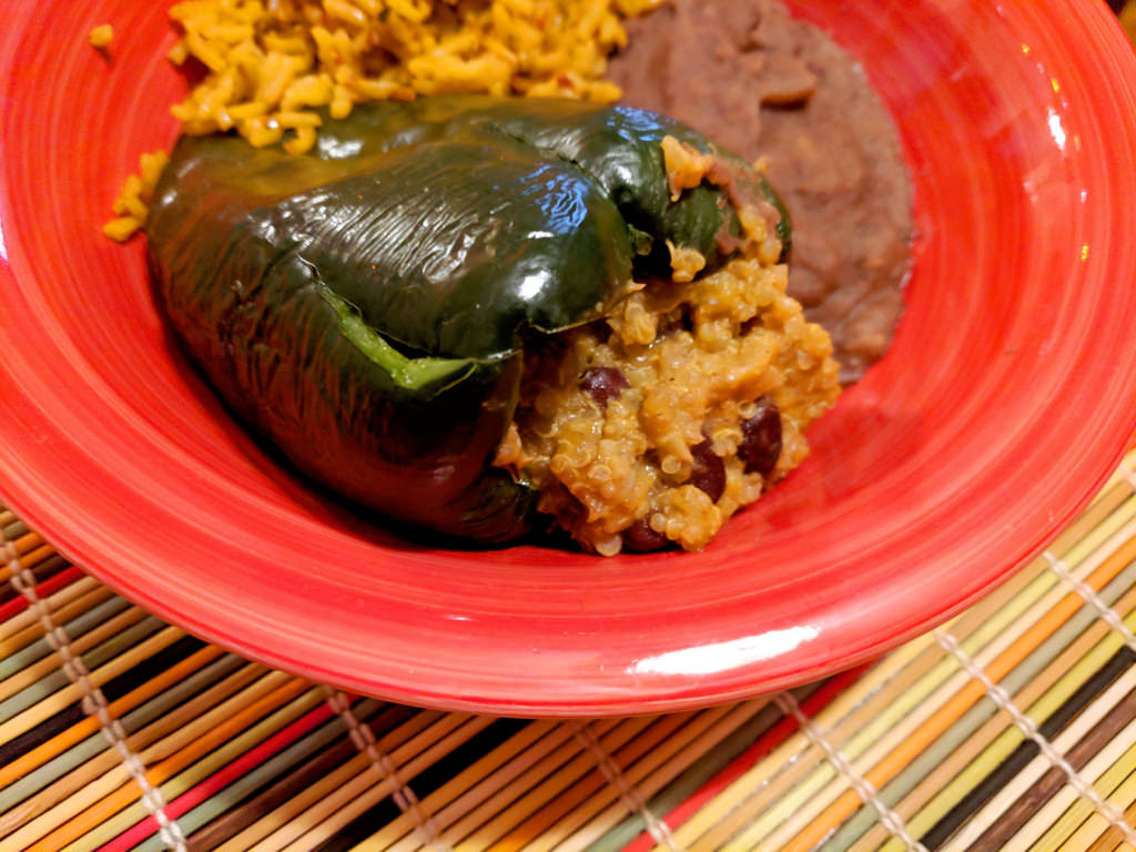 5/105 - Cheezy quinoa and black bean stuffed poblano peppers in the Instant Pot from my brain and looking at quinoa cooktimes on the internet