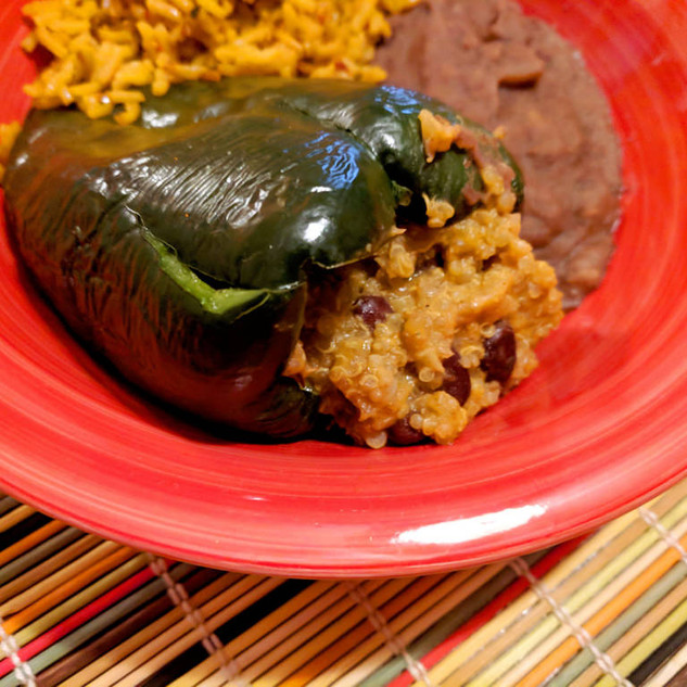 Cheezy quinoa and black bean stuffed poblano peppers in the Instant Pot