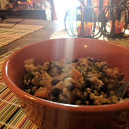 Almond Bulgur with black beans, tomatoes and kale from One Dish Vegan by Robin Robertson