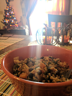 3/105 - Almond Bulgur with black beans, tomatos and kale from One Dish Vegan by Robin Robertson