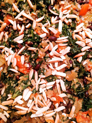 3/105 - Almond Bulgur with black beans, tomatoes and kale from One Dish Vegan by Robin Robertson